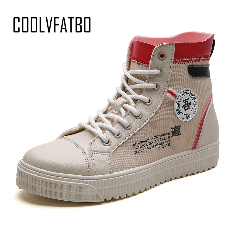 COOLVFATBO Men's Vulcanize Shoes Men Spring Autumn Top Fashion Sneakers Lace up High Style Solid Colors Man Shoes