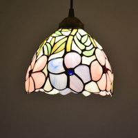 Tiffany Pendant Light Stained Glass Lampshade Fresh Country Flowers Hanging Lamp E27 110 240V