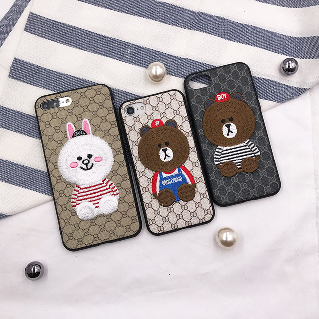 half off e0955 36818 Luxury fashion 3D embroidery moschino Kini rabbit couple anti fall soft  cover case for iphone 6 7 8 plus X XR XS MAX phone cases-in Fitted Cases  from ...