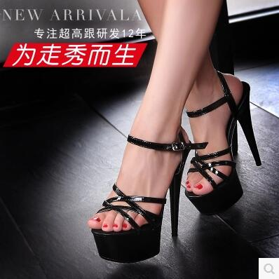 Model Catwalk Shoes 2017 high heels 13 / 15CM with Thick Bottom Strap Waterproof Table Sandals Model Catwalk Shoes Plus Size 44 the bride single shoes catwalk shows the performance of 15 cm high with roman style thick bottom appeal show shoes