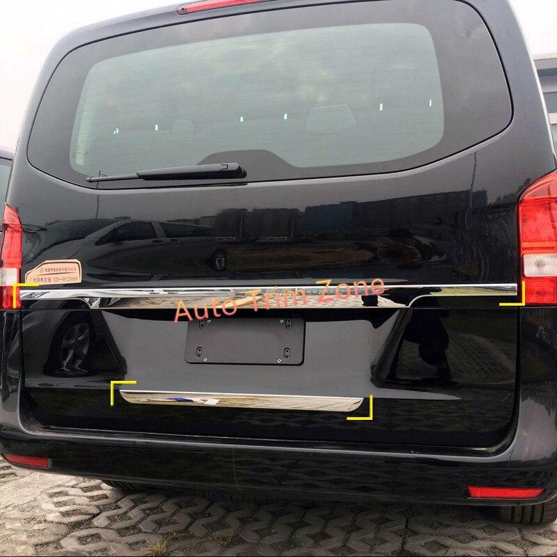 Наружные 2шт ABS хромированная задняя дверь багажника центр и нижние молдинги для Мерседес Vito W447 2014-2017