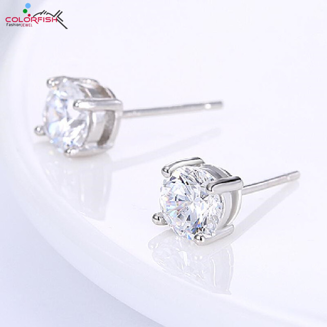 d4d0922e7 COLORFISH Authentic 925 Sterling Silver Round Brilliant Solitaire Stud  Earring Classic Prong 5mm 0.47 ct Women's Earrings Gifts