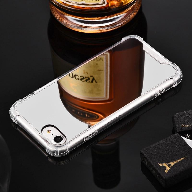 Mirror Case for iPhone 6 6S 7 8 X / 8 plus / 7 plus / 6 plus / 6s plus Anti Shock Hard Acrylic + TPU Cover Back Rose Gold Coque