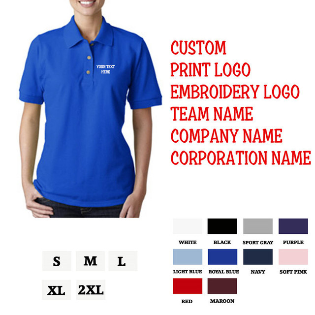 Classic Basic Cotton Polo Shirts Adult Women Short Sleeves Plain Slim Fit Custom Personalized Embroidery Free Shipping