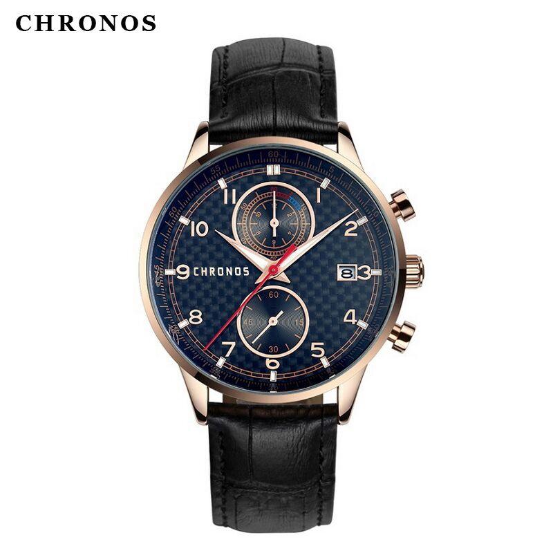 Prix pour Top Marque CHRONOS Hommes Montres Mode Casual Montre Montre Montre Hommes De Luxe Véritable Bracelet En Cuir De Haute Qualité Horloge Relogio