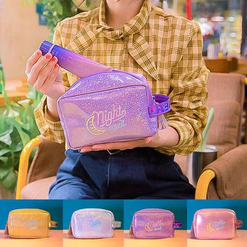 Lua Brilhante Borlas Mulheres Gilrs Saco Cosmético compõem Caso Bolsa Luz Bordado Embreagem Caixa De Lavagem De Higiene Pessoal Bolsa de Viagem Bentoy