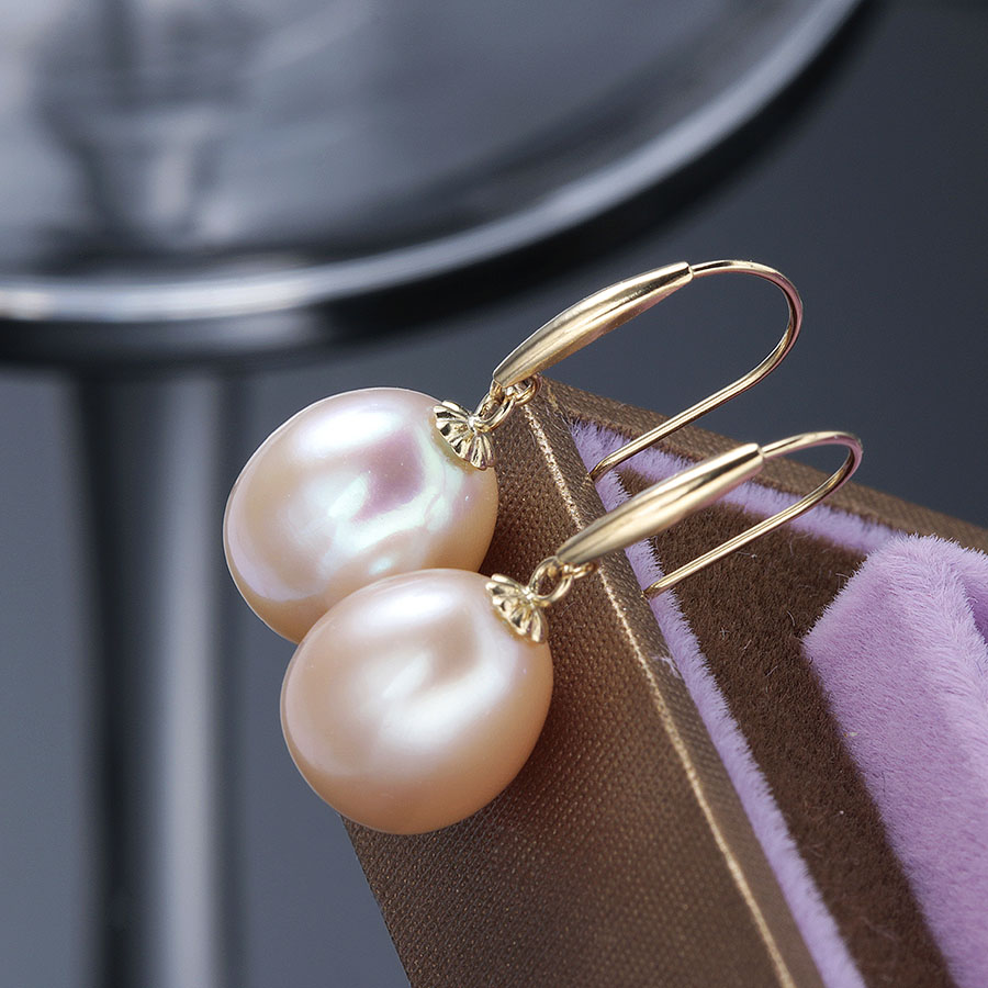 Lindo Top Qualität Aus Echtem Gold Drop Ohrringe Frauen Elegante 5A Natürliche Süßwasser Perle Schmuck 18 karat Gold Hochzeit Ohrringe 90% OFF-in Ohrringe aus Schmuck und Accessoires bei  Gruppe 3