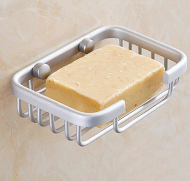 Bathroom Shower Soap Shampoo Holder Aluminum Space Bath Soap Dish Wall  Mounted