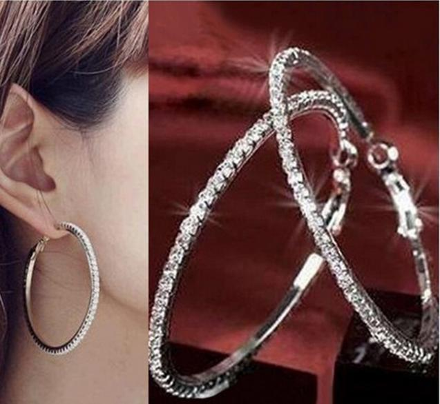 40mm 90mm Women Silver S Circle Paparazzi Basketball Wives Crystal Large Hoop Earring Rhinestone Jewelry In Earrings From