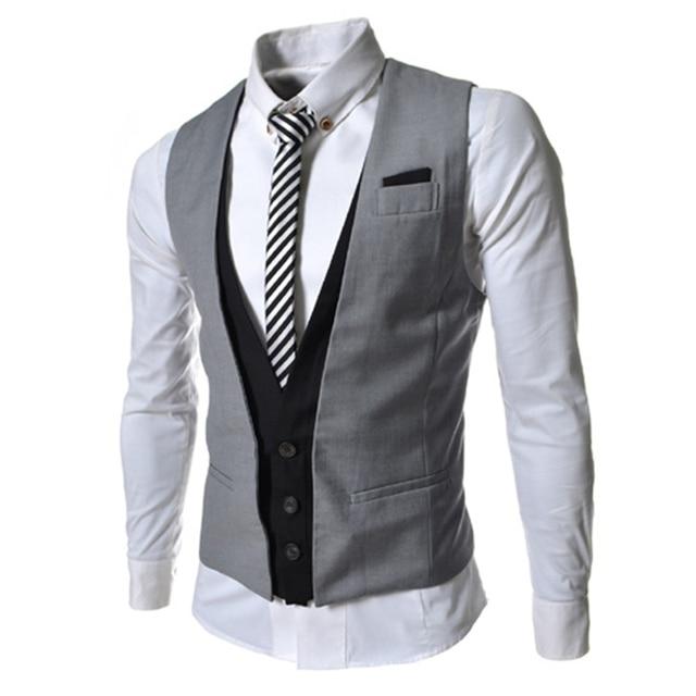 Em camadas Vest homens colete vestido de noivo de noiva da marca Slim Fit sem mangas colete masculino padrão de uma peça M66