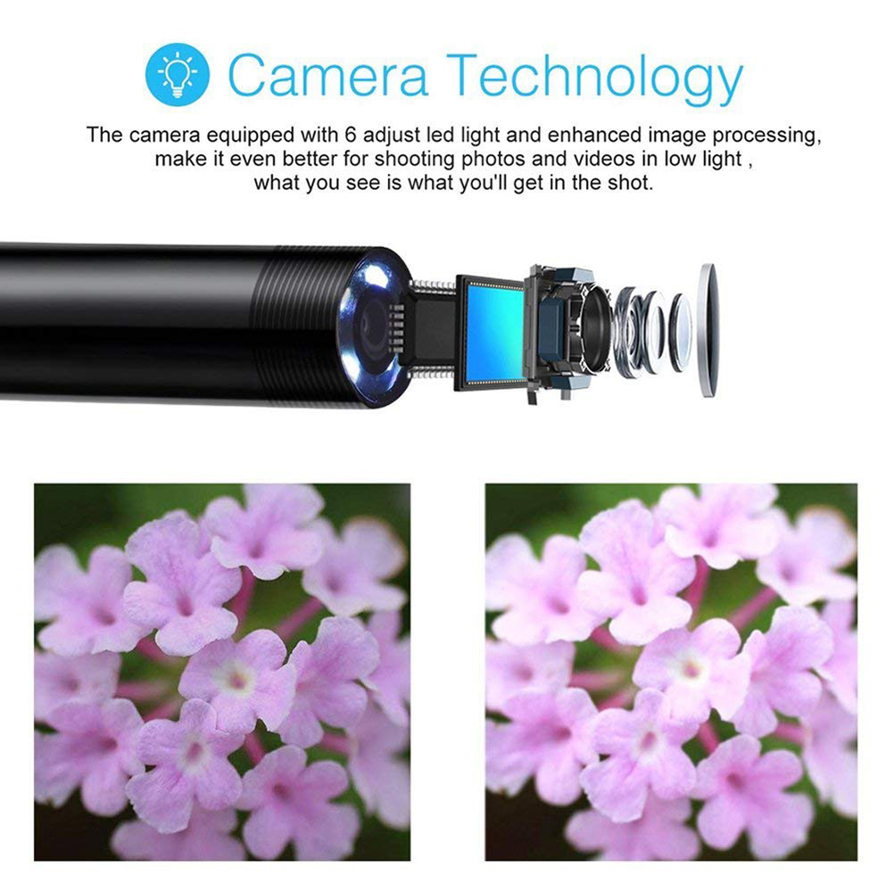 Image 2 - Boroscope Camera 2m 1m Flexible Snake Endoscope Camera  Boroscope 5.5mm 7mm Lens MircroUSB TYPE C for Smartphone Android PC MAC-in Surveillance Cameras from Security & Protection