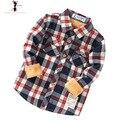 Xadrez Gola Virada Para Baixo Algodão Pelúcia Inverno Meninos Casuais Camisas Blusa Camisa Infantil Camisa Menino Infantil Menino 2545