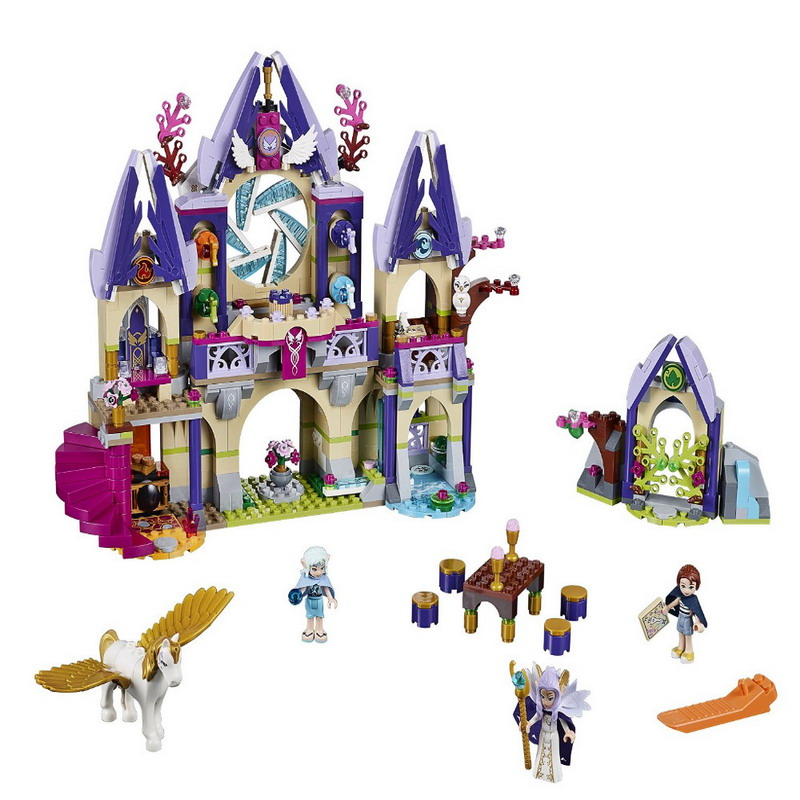 BELA 10415 Elves Skyra's Mysterious Sky Castle Figure Blocks Construction Building Bricks Toys For Children Compatible Legoe 2017 10415 elves azari aira naida emily jones sky castle fortress building blocks toy gift for girls compatible lepin bricks