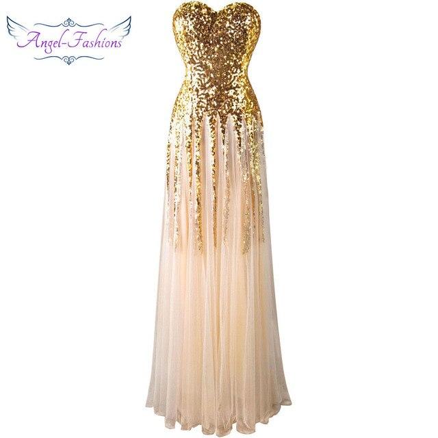 מלאך-אופנת מתוקה בציר 1920 s זהב פאייטים ארוך שמלת ערב 106
