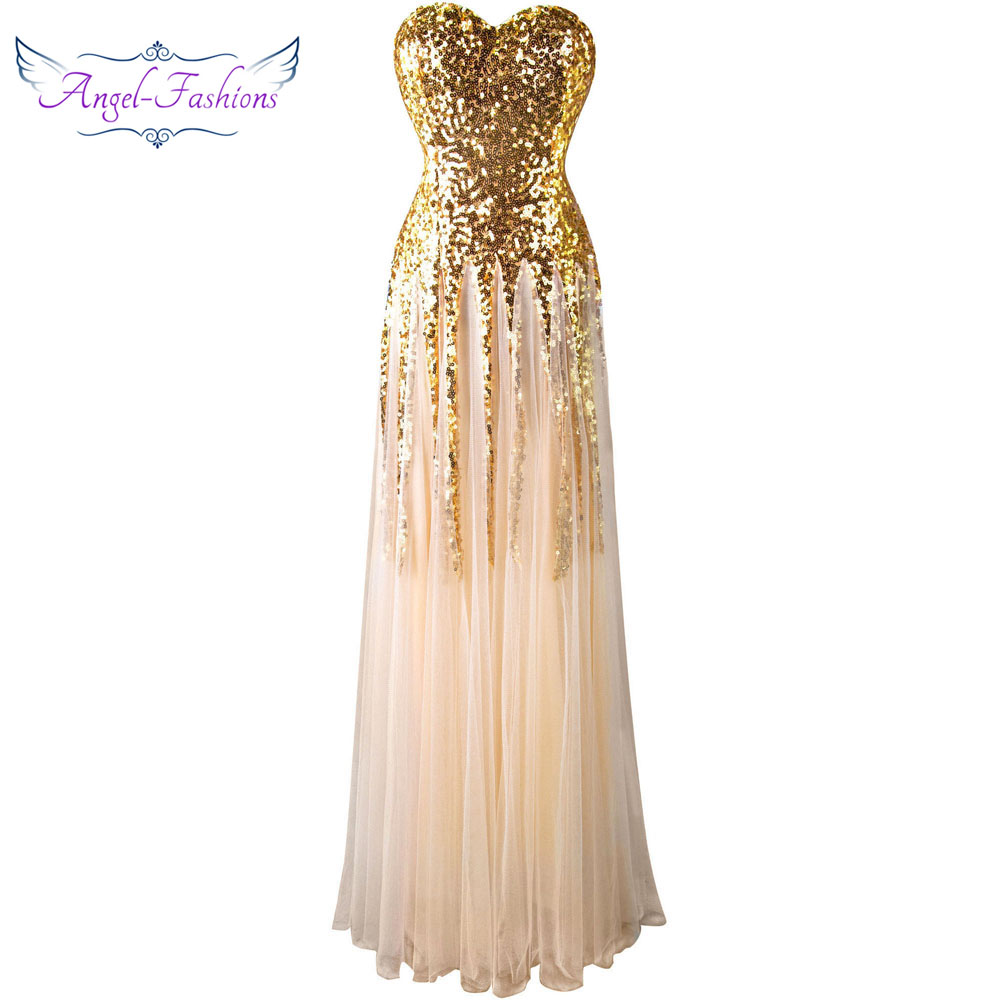 Angel-fashions Sweetheart Vintage 1920s Golden Sequins Long   Evening     Dress   106