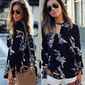 Elegant Floral Printed Chiffon Women Blouse 2016 Casual Fashion Loose V Neck Long Sleeve Black Tops Shirts Plus Size Sexy Blusas