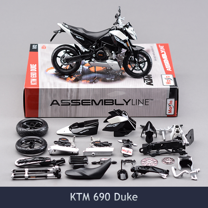 1/12 Miniature Brinquedos Diy Assembly Motorcycle Model Building Kits KTM 690 Duke Puzzle For Child Gift Or Collection
