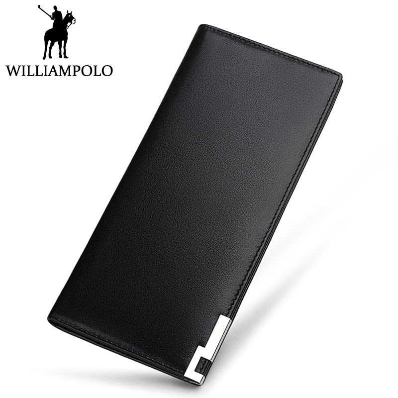 WILLIAMPOLO Men's Long Wallet Genuine Leather Male Purse Clutches 2018 New Fashion Thin Design Bifold Wallet Real Cowhide Gift new arrival women genuine leather long design cowhide coin wallet phone case weave wallet fashion bifold purse bag