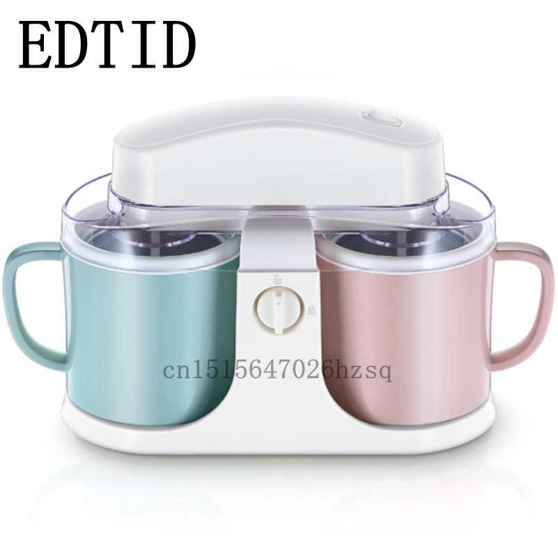 EDTID automatic Ice Cream Makers big capacity household electric machine 2 barrels white edtid ice cream machine household automatic children fruit ice cream ice cream machine barrel cone machine