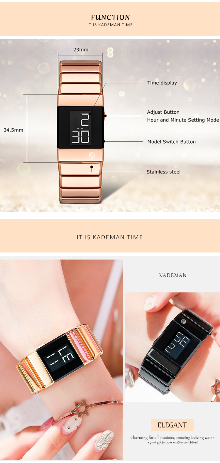 Fashion Women Bracelet Watches High Quality Rose Gold Stainless Steel Waterproof Top Brand Luxury Digital Sport Watch For Ladies 3
