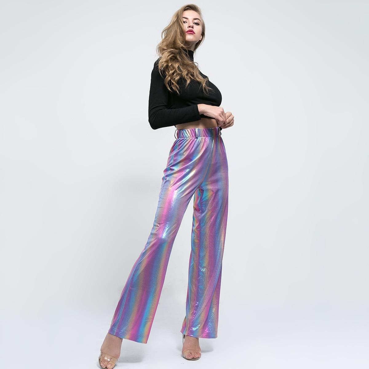 Liva Girl Long Winter Autumn Harajuku High Waist Rainbow Print   Wide     Leg     Pants   Loose Cargo Sweat   Pants   Trousers Pantalones Mujer