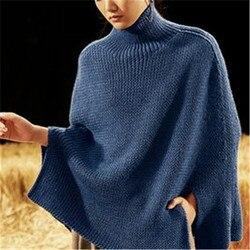 Nueva llegada 100% hecho a mano de lana pura de cuello alto de punto mujeres streetwear suelta dobladillo abierto abrigo suéter uno y más tamaño