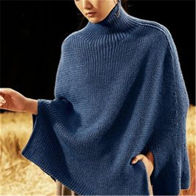 New Arrival 100% Hand Made Pure Wool Turtleneck Knit Women Streetwear Loose Open Hem Wrap Sweater One&over Size