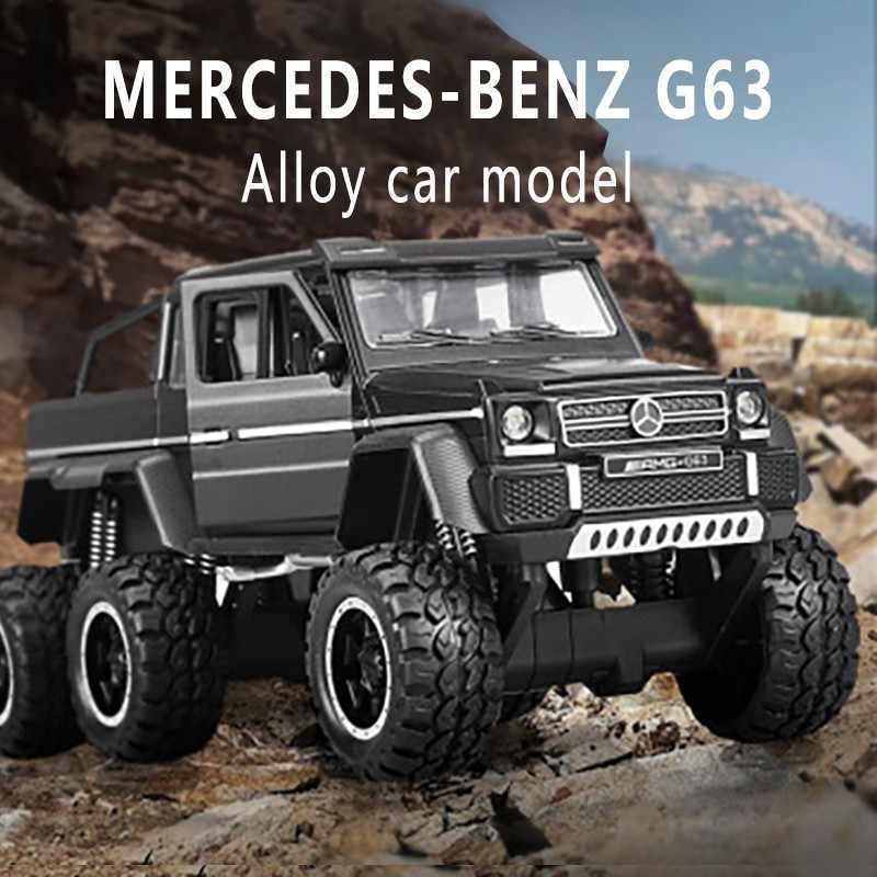 XA3210 Kaki Besar Mercedes-Benz G63 Pickup Enam Roda Simulasi Paduan Model Mobil Off-Road Mobil Model mobil Mainan