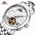 2016 Carnaval deportes tourbillon mecánico automático reloj de la marca a prueba de agua los hombres de lujo de acero completo relojes relogio masculino