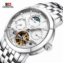 2016 Carnaval sport tourbillon automatique mécanique marque montre étanche hommes de luxe en acier plein montres relogio masculino