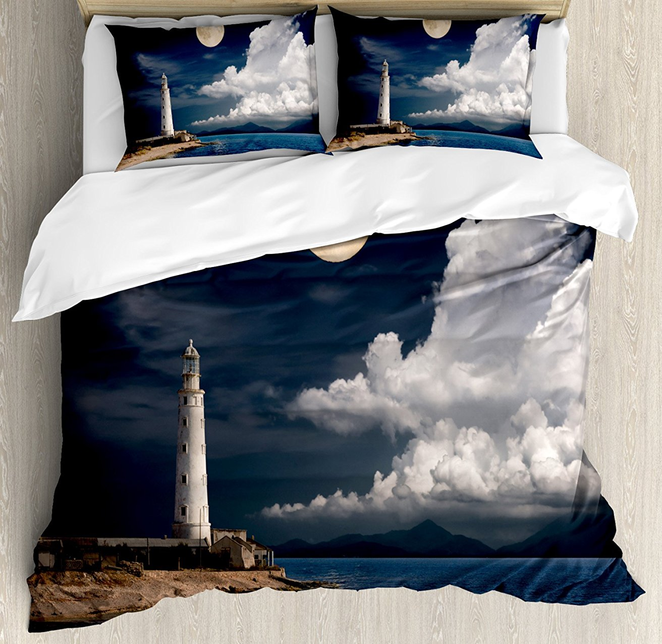 Lighthouse Duvet Cover Set Lighthouse Moonlight Island Large Clouds Sea Seaside Waterfront Night Time Bay 4 Piece Bedding Set image