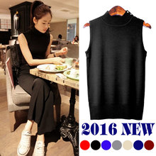 Special offer new Korean summer slim dress sweater vest cold high necked sleeveless sweater backing all-match