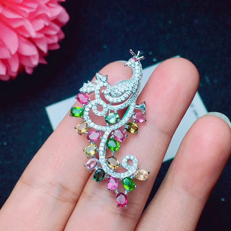 2018 New Arrival Fashion Silver Pendant For Women Femme Necklace Genuine Natural Crystal Quartz Flower Tourmaline Pendant Bead gorgeous flower rhinestone bead tassel alloy pendant necklace for women