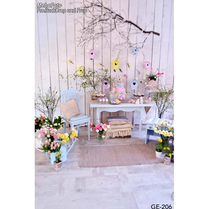 Family photo background Easter day flowers vases photography backdrops for photo studio vinyl printing photographic backgrounds easter day eggs in straw photography backdrops dry branches fotografia photo background for photo studio photography background