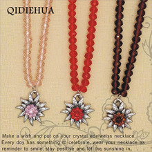 Fashion Crystal beaded Necklace Pendant For Woman Antique Silver Edelweiss Statement Rhinestone Charm Jewelry