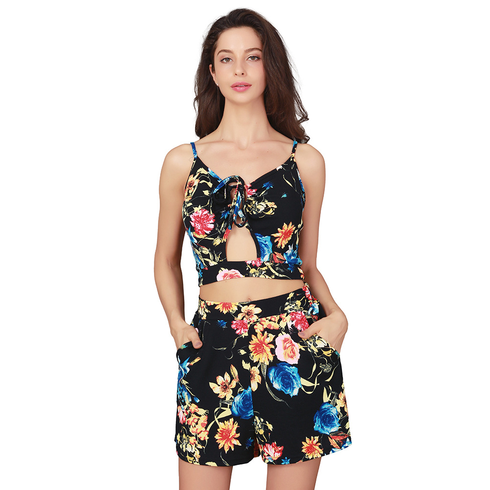 Black Boho Floral Print Two Piece Set Playsuits Women Sexy Summer Hollow Out Beach Short Rompers Party Jumpsuit Lace Up Overalls