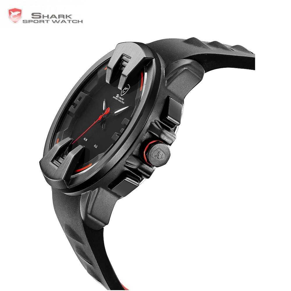 Wobbegong акула спортивные часы черный новый дизайн цифровой Дата светодиодный Аналоговый мужской кварцевый Кремний ремешок Geek мужские наружные часы подарок/SH557