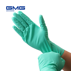 Image 1 - Nitrile перчатки водонепроницаемые GMG зеленый желтый 12 дюймов Алмазный Узор безопасные рабочие перчатки защитные механики перчатки