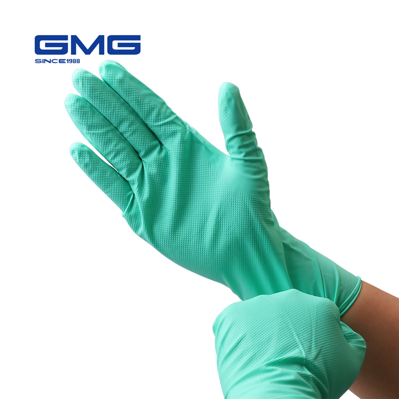 Nitrile Gloves Waterproof GMG Green Yellow 12 Inches Diamond Pattern Safety Work Gloves Nitrile Mechanics Gloves