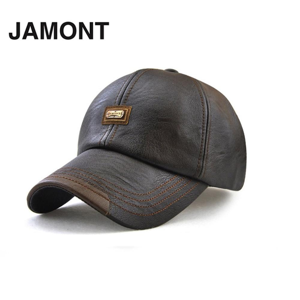 JAMONT Men Baseball Caps PU Leather Baseball Hat Adjustable Hip Hop caps gorras Autumn Winter Snapback Hat Biker Trucker For Men female caps for autumn