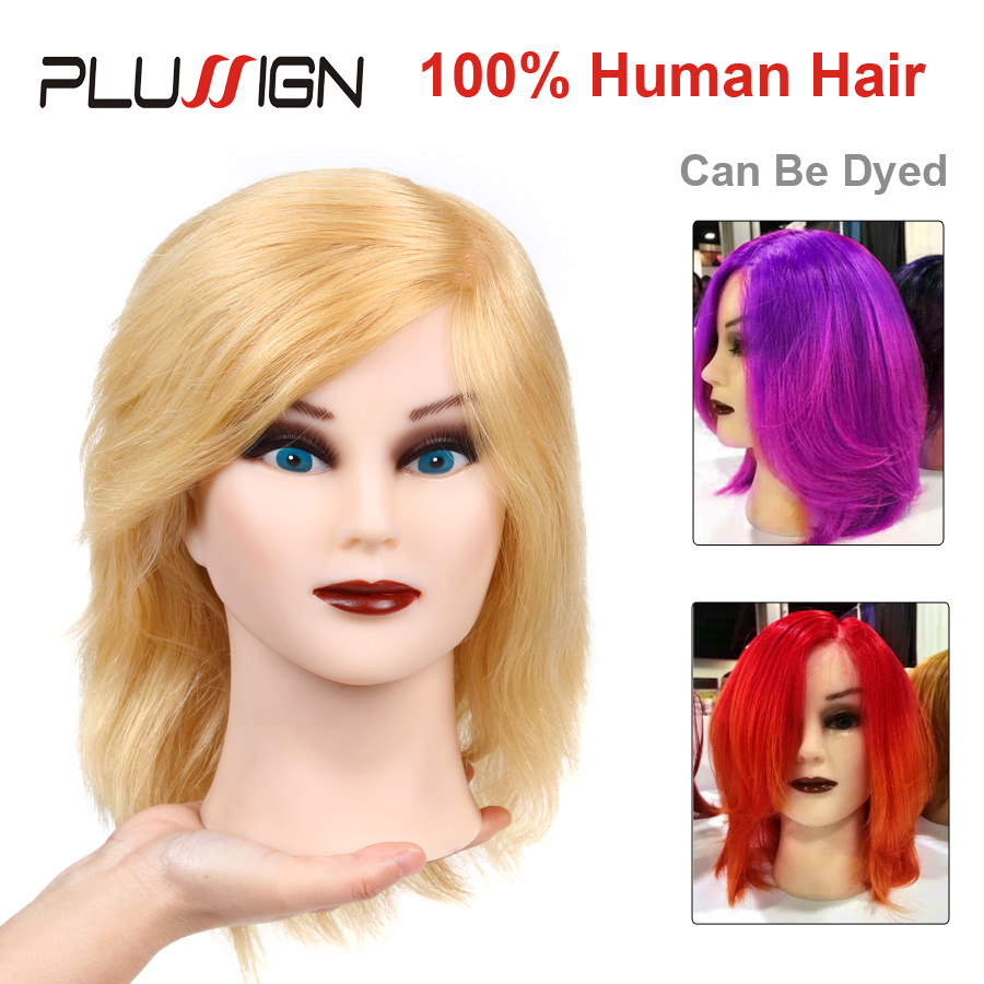 Plussign Female Training Mannequin Head With 100% Real Human Hair Professional Styling Manikin Head Model #613 Blonde Color mannequin head african american afro hair with manikin for practice styling braiding