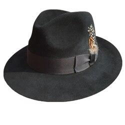 Luxe Angora Konijn Fedora Hoed Gangster Mobster Michael Jackson Gentleman Hoeden Zwart Grijs Kleuren