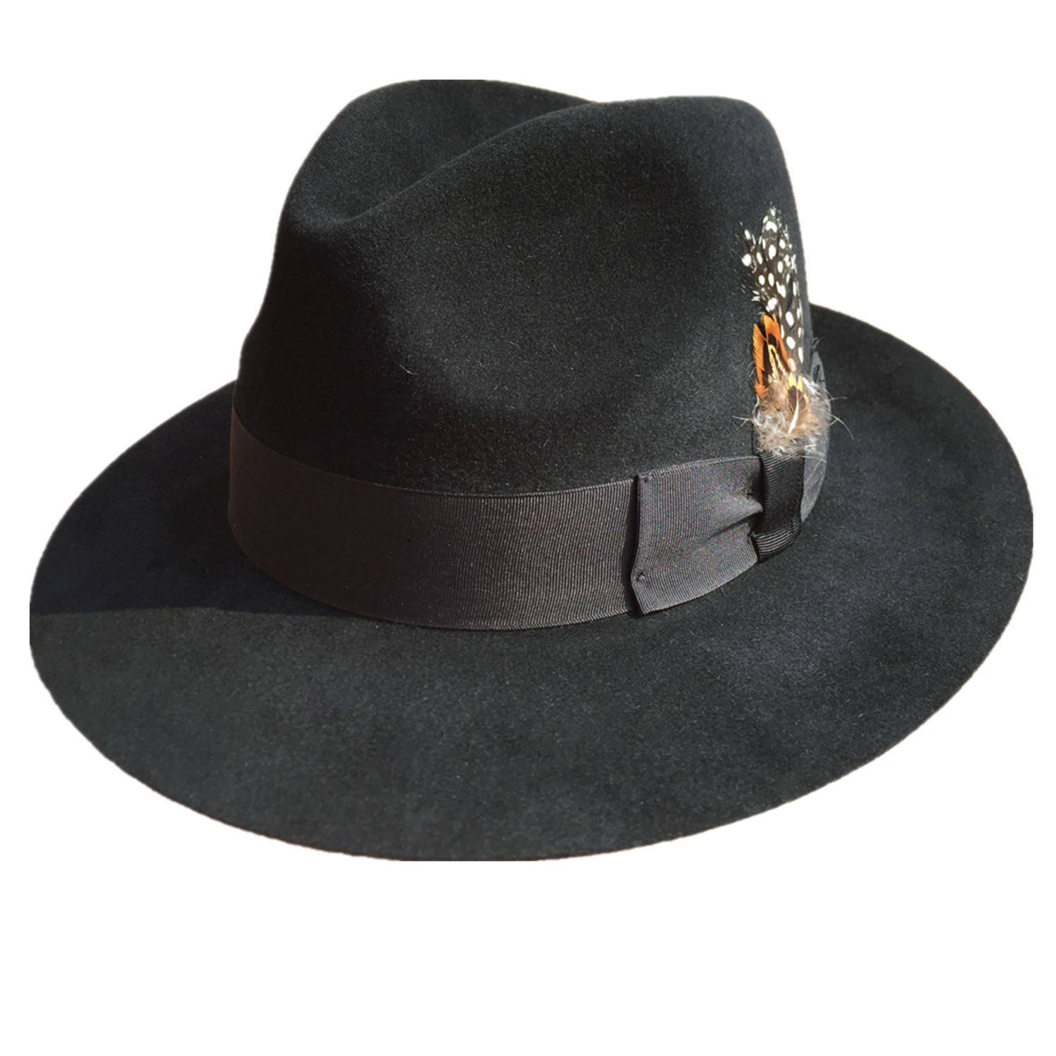 Luxury Angora Rabbit Fedora Hat <font><b>Gangster</b></font> Mobster Michael Jackson Gentleman Hats Black Grey Colors image