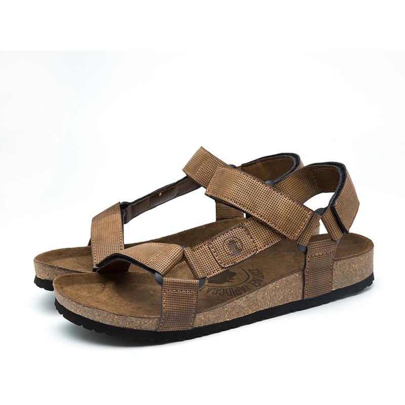 2018 New Sandals Men Shoes Black Brown Beach Cork Slippers Sandal Man zapatos hombre 39- ...