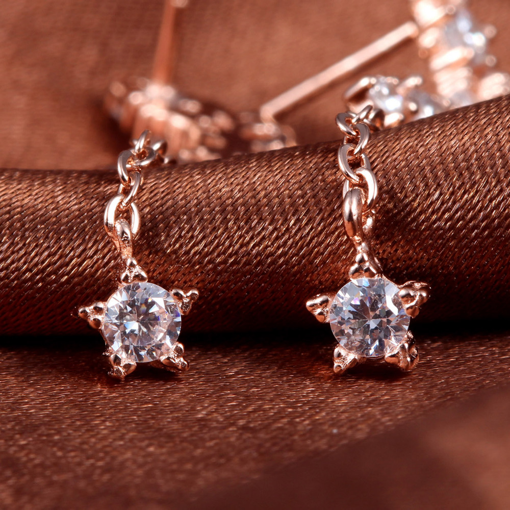 Real 925 Silver Jewelery Drop Earrings For Women Dangles Long Moon Star Rose Gold White Gold New Fashion Accessories 31mm 1 Pair
