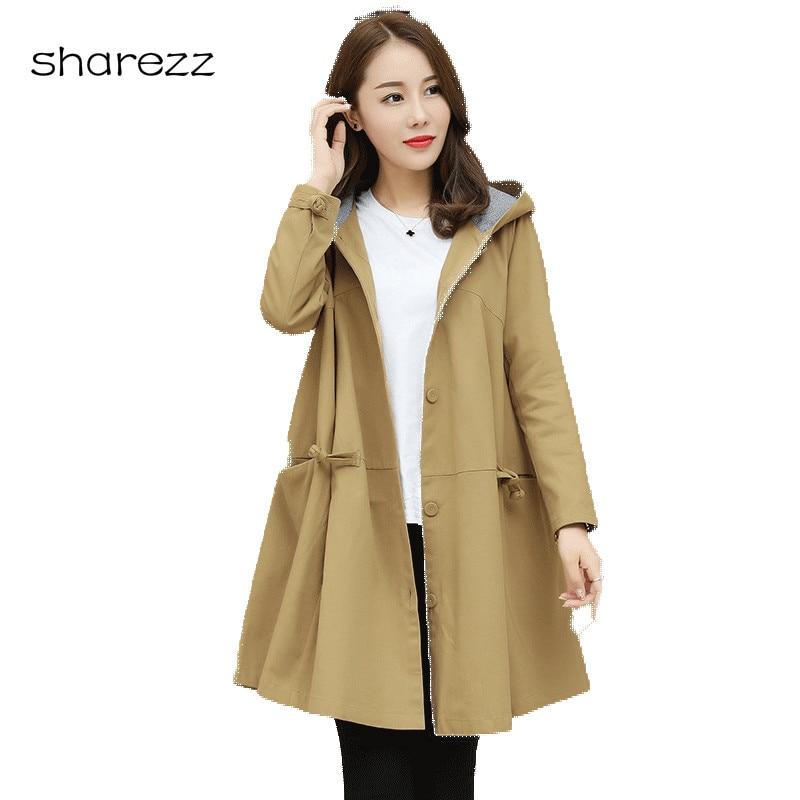 Korean Fashion 2019 New Autumn Long   Trench   Plus Size Coat Loose Hooded Women's Windbreaker Coats Outerwear