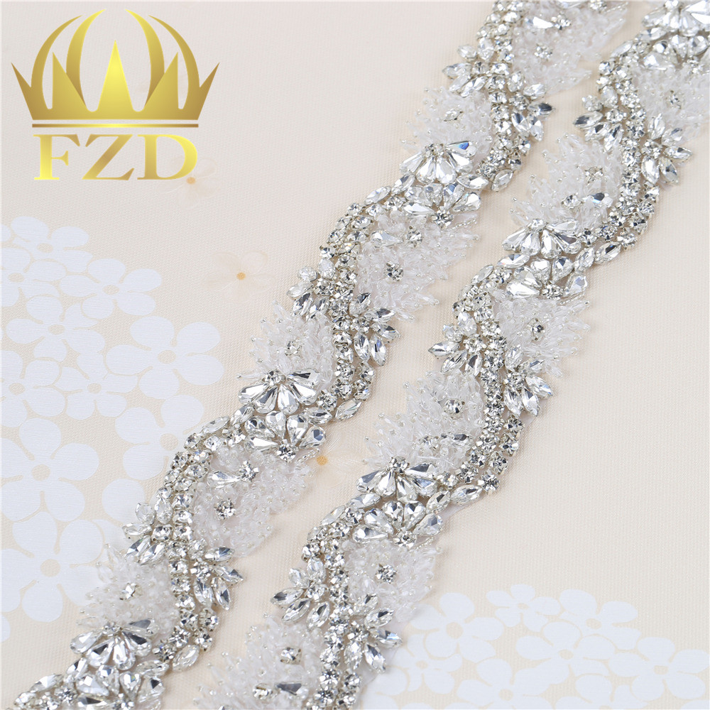 (1 yard)Hot fix New Type Sew on Beaded Crystal Applique Rhinestones  Decorative Trim ... 45135d6b0cc2