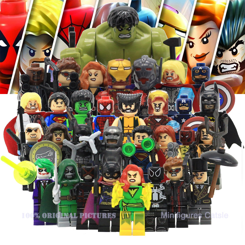 Avenger Super Hero Compatible with LegoINGly Marvel Building Blocks Batman Spiderman Civil War X-Men Hulk Iron Man Toys for Kid 8pcs lot movie super hero 2 avenger aochuang era kid baby toy figure building blocks sets model toys compatible with lego