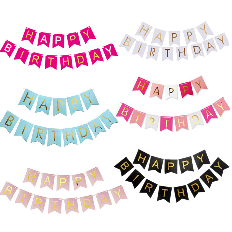 Paper Bunting Garland Banners Flags Happy Birthday Banner Boy Girl Baby Shower Decoration Wedding Birthday Party Supplies Decor цена