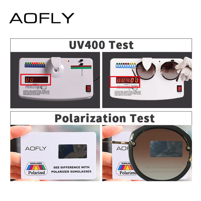 AOFLY BRAND DESIGN New Fashion Round Sunglasses Shining Frame Polarized Sunglasses Women Goggles UV400 A127 4